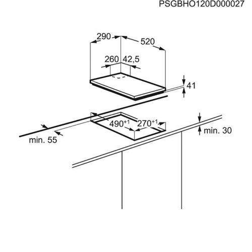 Gaasipliidiplaat Electrolux EGC3322NVK joonis