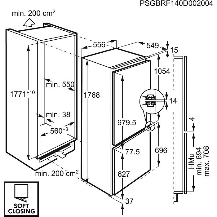 Integreeritav külmik Electrolux joonis dod