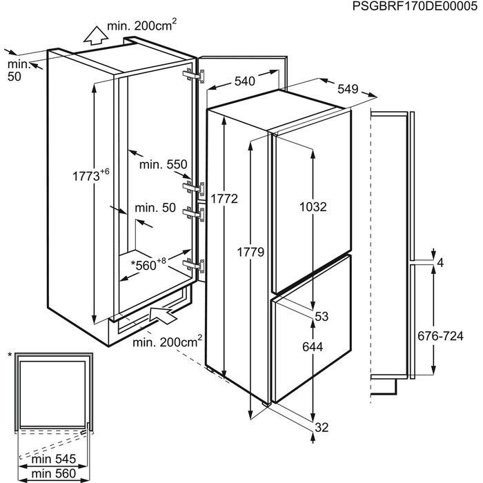 Integreeritav külmik Electrolux joonis