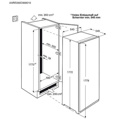Integreeritav sügavkülmik Electrolux EUN2244AOW jäävaba joonis