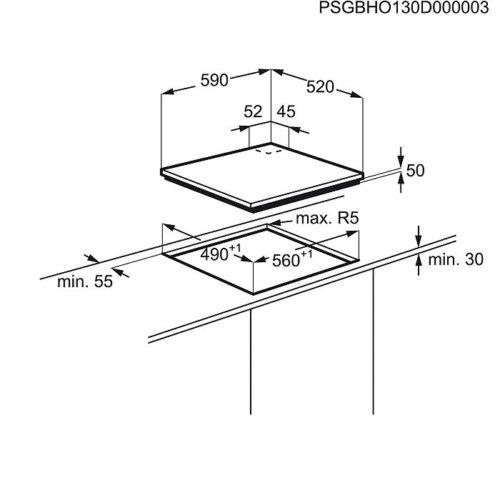 Pliidiplaat Electrolux EGD6576NOK induktsioon ja gaas joonis
