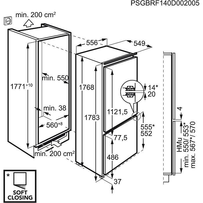 Integreeritav külmik AEG SCE81816ZF BioFresh 0°C joonis
