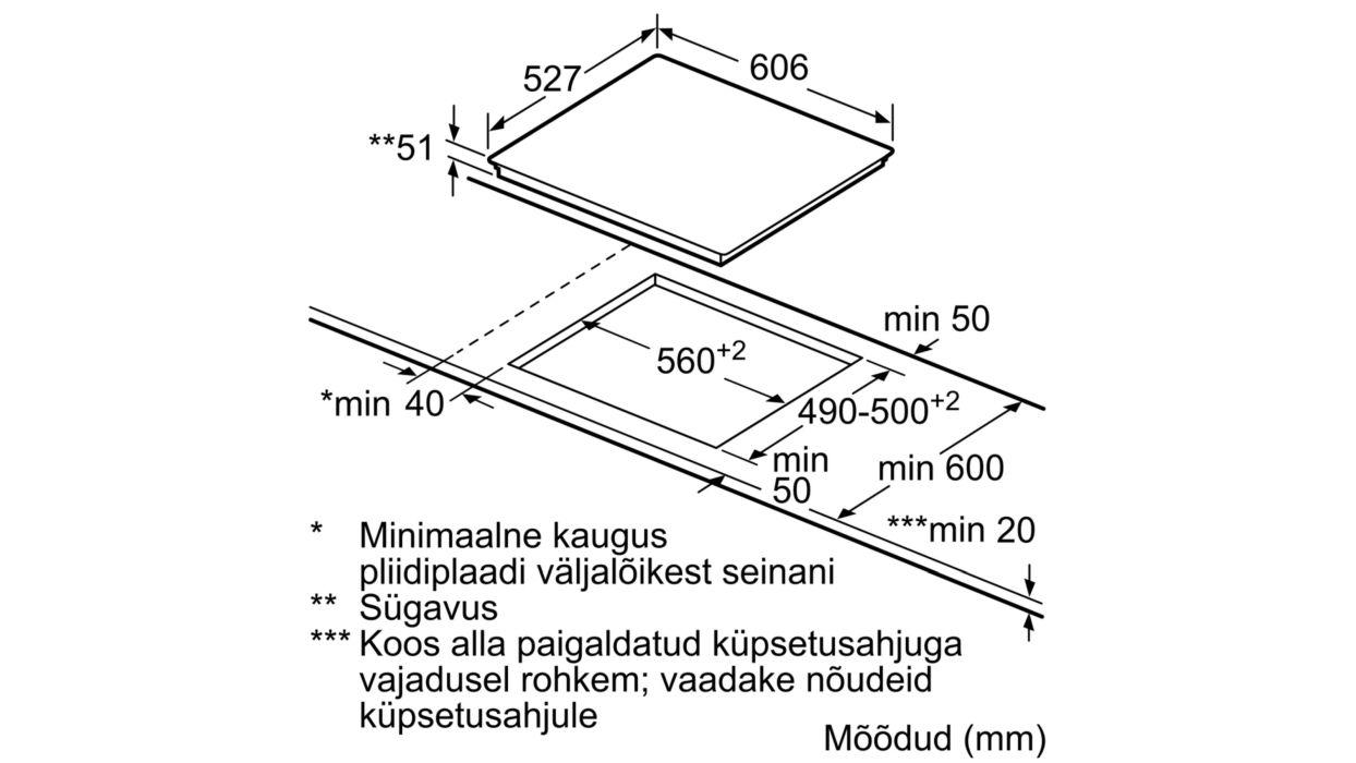 Bosch comfort disain induktsioonpliidiplaadi mõõdud