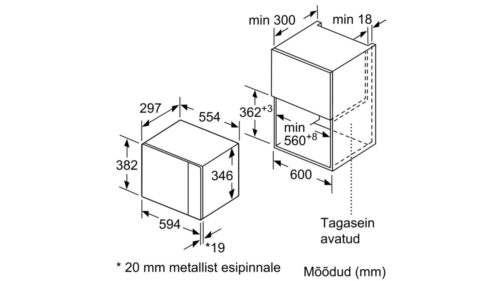 Integreeritav mikrolaineahi Bosch BFL joonis