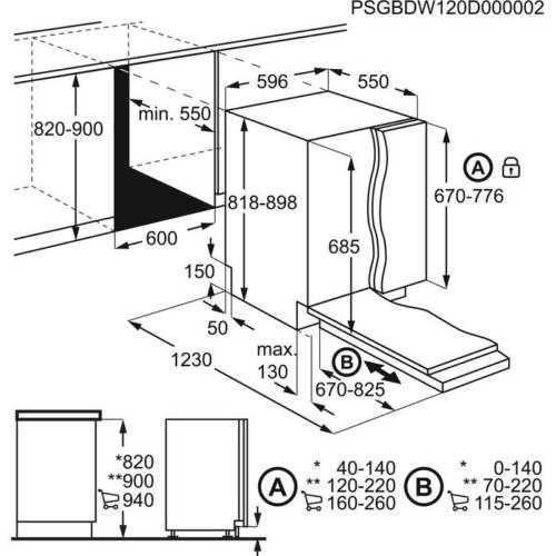 Electrolux nõudepesumasina integreerimisjoonis 898
