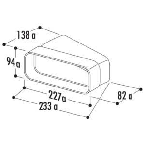 Ventilatsioonitoru ELICA KIT0121002 liitmik 15° 227X94mm plastik