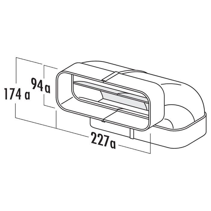 Ventilatsioonitoru ELICA KIT0121005 vertikaalne liitmik 90° plastik