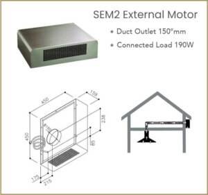 Väline mootor SIRIUS SEM2 välistingimustesse katuseräästa alla